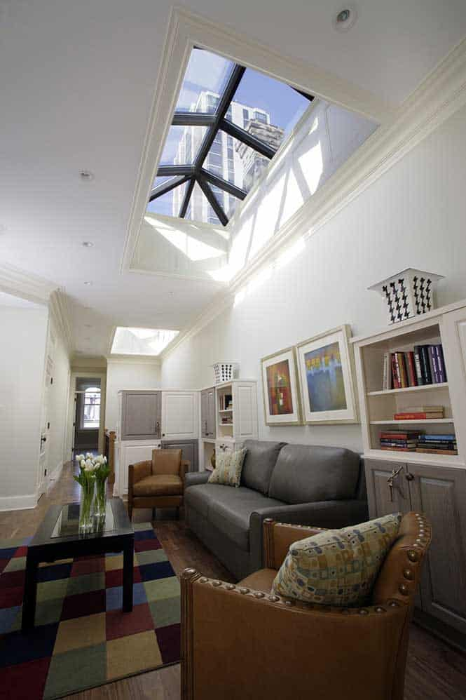 The industrial skylights showcase the amazing views from the home's third floor.
