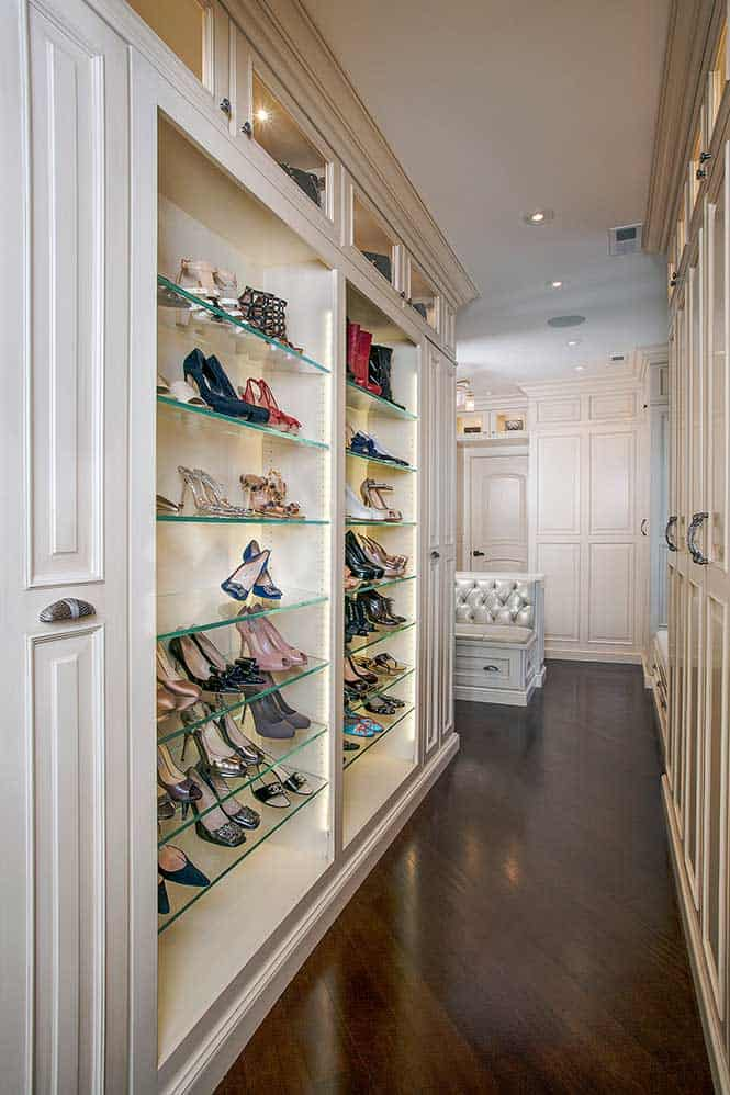 Master Bath Closets With Detailed Shelving Closets With Built In Shoe  Shelving ...