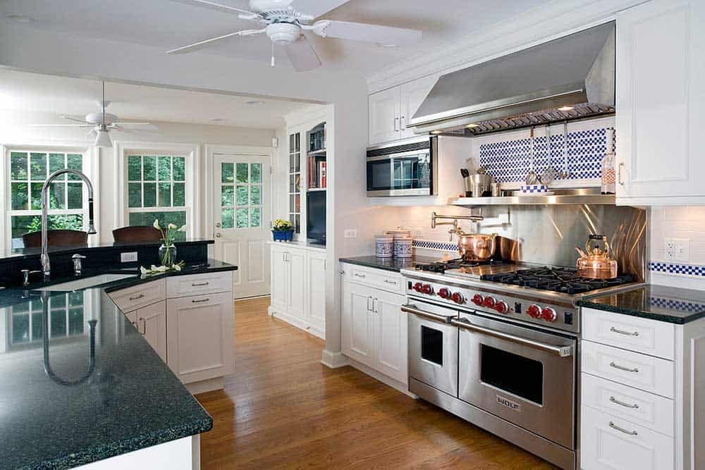 White recessed panel cabinet kitchen