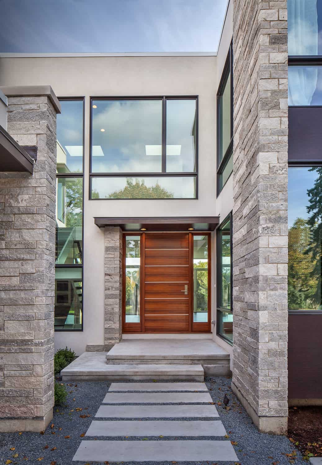 Modern Front Entry Glass Northbrook Custom Home