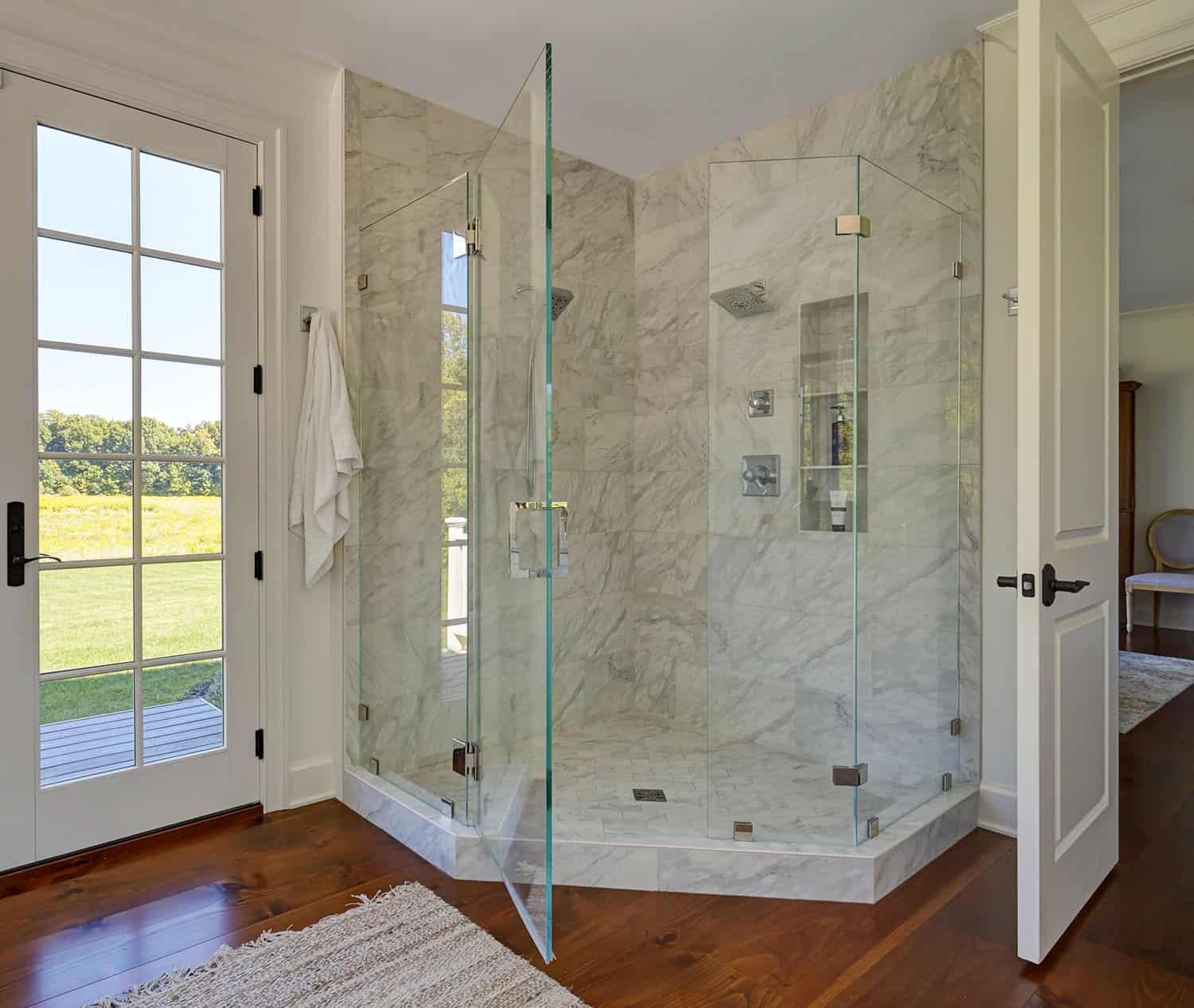 large-corner-shower-glass-hinged-door
